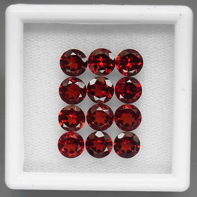 Round 6 mm.Outstanding! Natural Red Mozambique Garnet Africa 12Pcs/11.49Ct.