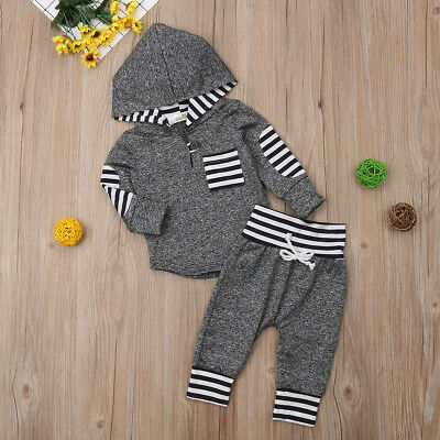 AU Infant Baby Boy Girl Unisex Clothes Warm Hooded Sweatshirt+Pants Outfits Set