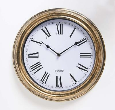 Large Vintage Sttyle Antique Wall Clock Shabby Chic - Gold