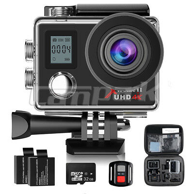 Campark ACT76 Sport Action Camera WiFi HD 16MP 4K Waterproof Remote Control+32GB