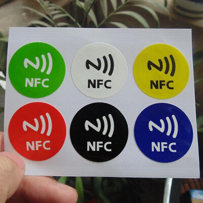 CB63 6Pcs Waterproof NFC Smart Smartphone Adhesive Chip RFID Label Tag Stickers