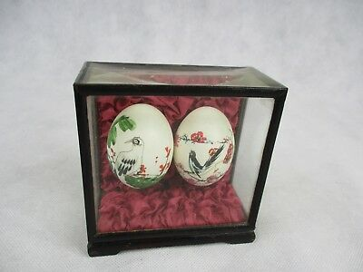 Two Decorative Hand Painted Eggs in Case