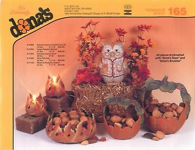 Dona's Tech Sheet 165 Autumn Leave Bowl & Candle Cups, Pumpkin Baskets & Owl