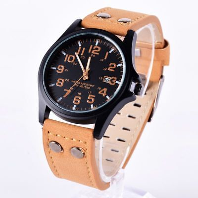 Men Sport Watches Army Military Leather Band Quartz Wrist Watch Stainless Steel