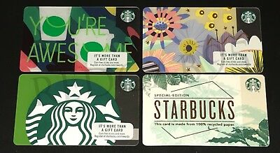 NEW Starbucks 2018 Gift Cards Lot of 4 - SIREN, RECYCLED, SPRING, YOU AWESOME