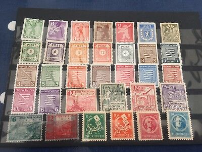 Germany incl Berlin Sachsen Thuringen mint stamps used on card