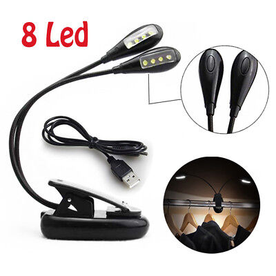 8 LED Eye Care USB Rechargeable Stand Light Clip On Bed Music Reading Book Lamp