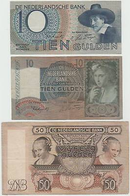 Lot Niederlande / Netherlands:  10, 10, 50 Gulden