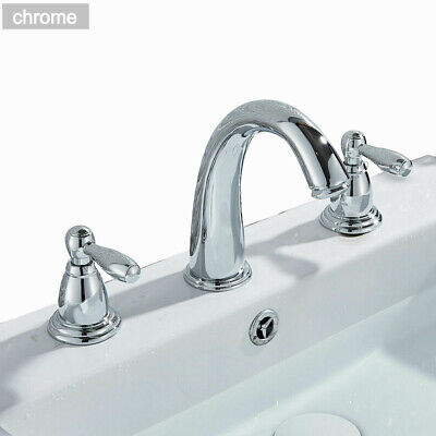 Deck Mounted Basin Faucet 2  Knobs 3 Holes Widespread Sink Mixer Tap Gold Polish