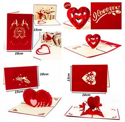 3D Pop Up Greeting Card Engagement Wedding Birthday Cards Valentine's Day Gifts