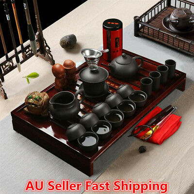 Chinese Kung Fu Infuser Tea Set Porcelain Teapot Pot Cup Kettle Holder Tray Kits