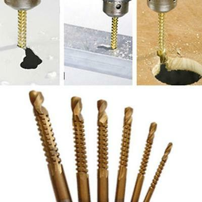 6Pcs Woodworking Cutting Cutter Hole Slot Saw Holesaw HSS Ti Drill Bit WT