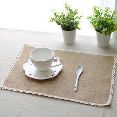 Jute Hessian Burlap Placemat Cup Rustic Wedding Party Decoration MA