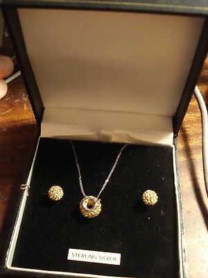 Solid Sterling Silver  & Crystal Pendent & Earring Set In Original Box