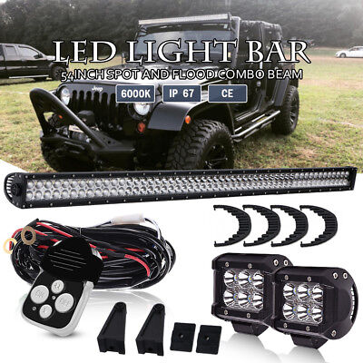 54Inch Osram LED Light Bar Offroad Driving Dodge+ Wiring Harness +4'' Pods 52/56
