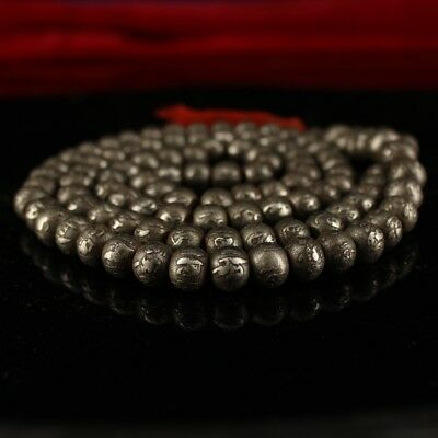 """7"""" China Antique Tibet Temple Meteorite carved six syllable mantra 108 Beads"""