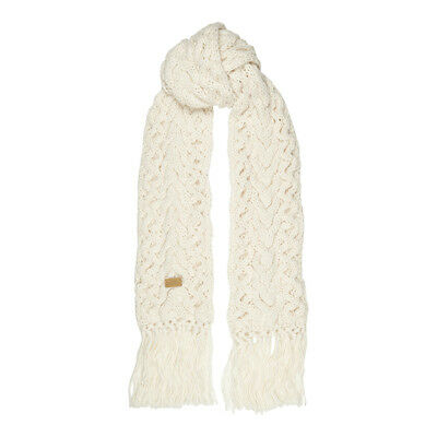Aran Traditions Womans Winter Warm Cable Knitted Style Fringe Scarf