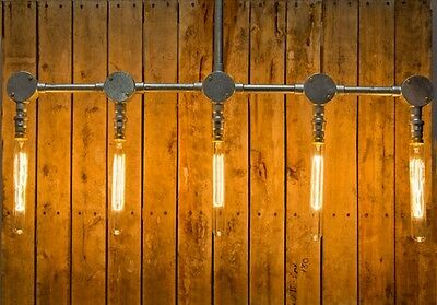 Steel conduit pipe ceiling light, with 5 lamp outlets, industrial edison bistro
