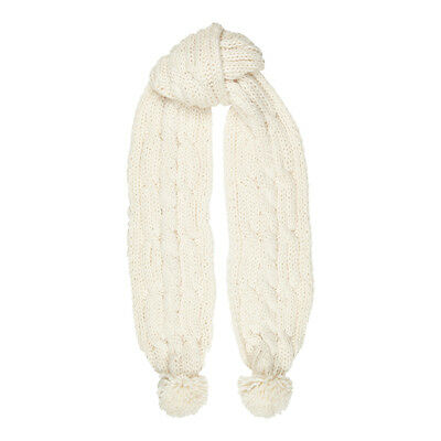 Aran Traditions Womans Winter Warm Cable Knitted Style Pom Pom Scarf
