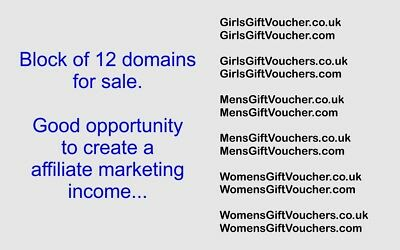 Block of 12 domain names for sale with affiliate marking income potential