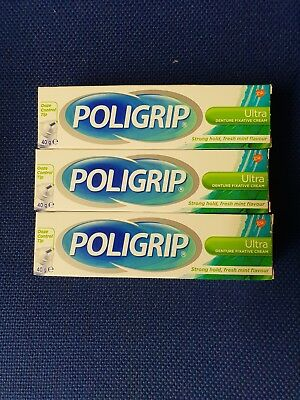 3 X Poligrip Ultra Denture Fixadent Cream  Fresh Mint Flavour 40g exp 2020