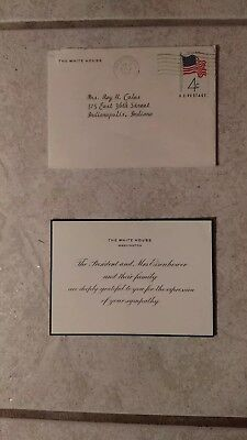 President & Mrs. Dwight Eisenhower Sympathy Card Mailed From The White House...