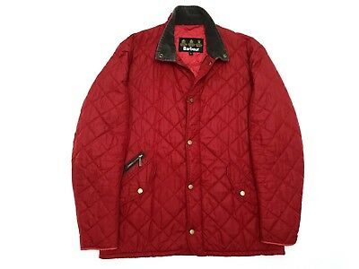 Men's Barbour Red Chelsea Sportsquilt Quilted Jacket Trench Coat - L - RRP £125