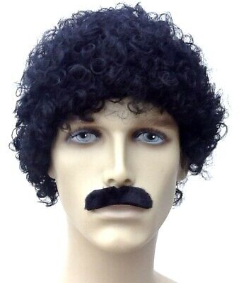 Black Afro Style Fancy Dress Wig & Self Adhesive Moustache > Uk Fast Dispatch