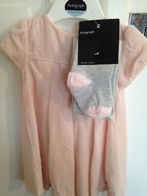 M&S Autograph Girls Nude Pink Velvet Photo shoot Christmas Party Dress 6-9 Month