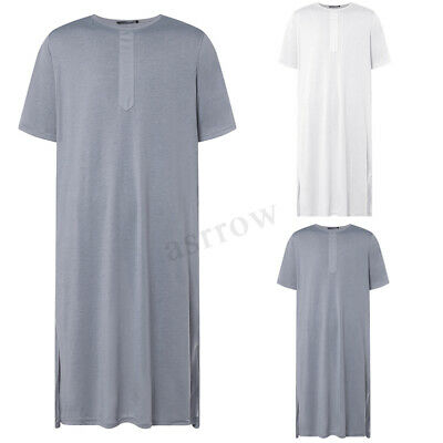 Men Casual Short Sleeve Kaftan Jubba Middle East T Shirts Dress Thobe Robe Abaya