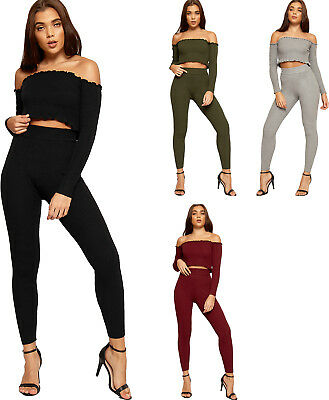10644bf931 Womens Rib Stretch Off Shoulder Crop Top Leggings Co-Ord Ladies Loungewear  Set
