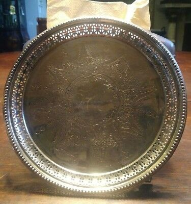 c1892 Sheffield England Sterling Silver Reticulated Hand Chased Footed Salver