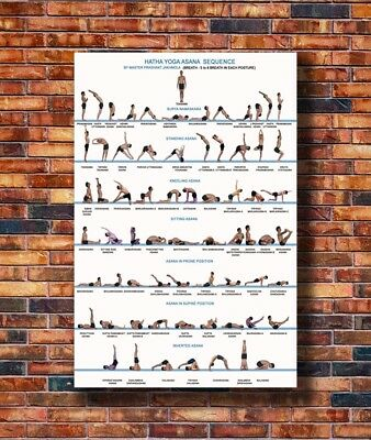 T2318 20x30 24x36 Silk Poster Yoga Exercise Bodybuilding Chart Art Print