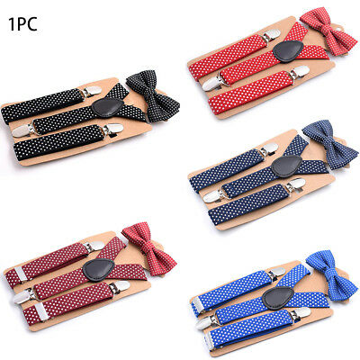 UK Cute Suspender and Bow Tie Set For Baby Kids Boys Girls Matching Tuxedo Suit