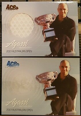 Ace Authentic AGASSI ANTHOLOGY AG-7 Jersey + Base cards 2001 Australian Open
