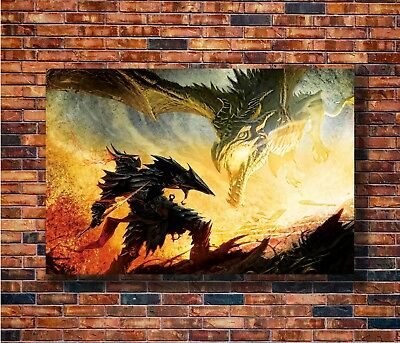 T-874 Art Poster The Skyrim Video Dragon Hot Silk 24x36 27x40IN
