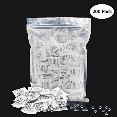 SILICA GEL SACHETS, 200x1g Desiccant Bags Crystal Dehumidifier Pack for Food