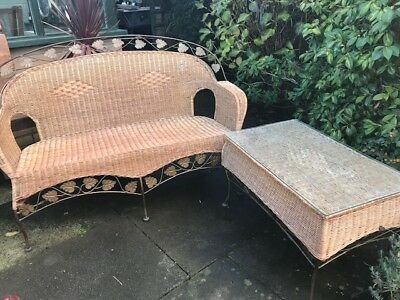 Conservatory furniture Wicker two seater and coffee table