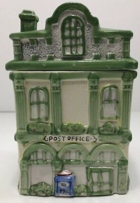 Vintage Ceramic Post Office Cookie Jar Hand Painted Country Cottage Green