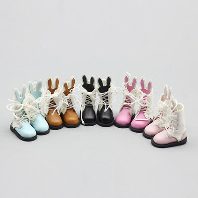 1pair PU Leather Doll Boots For 1/6 Blyth BJD Dolls Shoes Doll Mini Boot Lace Up