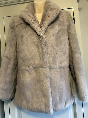 Vintage Silver Grey/Blue Real Fur Coat Size 14 Fits 10