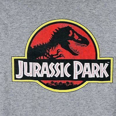 JURASSIC PARK Logo Graphic Tee Shirt Gray T-Rex Men Small