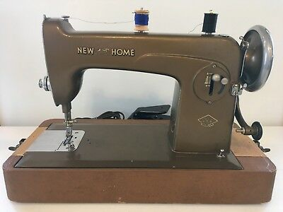 Vintage RARE New Home Light Running Heavy Duty Sewing Machine Model NLC + Case