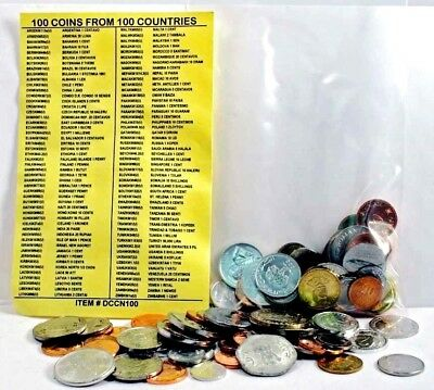 100 Different World Foreign Coins From 100 Different Countries With Identifier