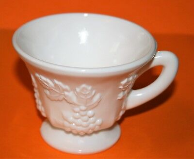 Vintage Indiana Glass Colony Harvest Grape Milk White Cup 24 Available Beauty!