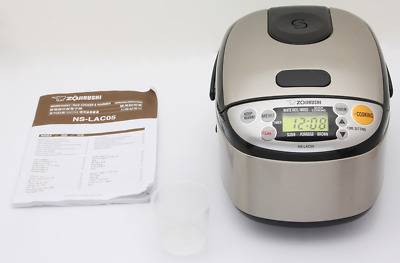 Zojirushi NS-LAC05 Fuzzy Logic Rice Cooker Warmer 3 Cup Stainless Steel