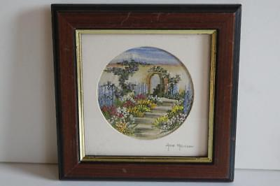 A Small Signed Framed Hand Embroidered And Painted Picture By Anne Harrison.