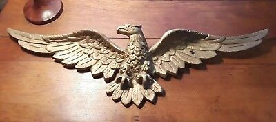 """Vintage Cast Iron/Metal Gold Painted American Eagle Wall Hanging - 33"""" Wingspan!"""