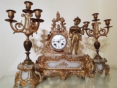 Antique French Gilt and White Stone Figural Mantel Clock Garniture.