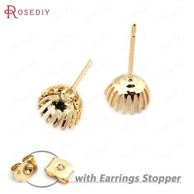(33739)20PCS Trays 6MM 24K Gold Color Brass Flower Arc Trays Stud Earrings